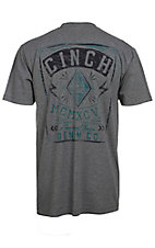 Cinch Men's Charcoal Grey with Navy & Teal Logos Short Sleeve Tee