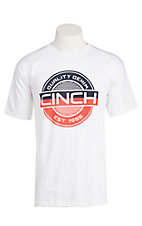 Cinch Men's White with Navy and Orange Screen Print Short Sleeve T-Shirt