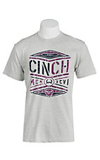 Cinch Men's Grey with Purple and Navy Screen Print Short Sleeve T-Shirt