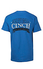 Cinch Men's Blue with Black and White Screen Print Design Short Sleeve T-Shirt