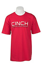 Cinch Men's Red with Black and White Screen Print Design Short Sleeve T-Shirt