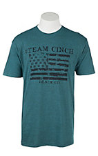 Cinch Men's Teal with American Flag Screen Print Short Sleeve T-Shirt
