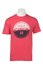 Cinch Men's Red with Vintage Logo Screen Print Short Sleeve T-Shirt