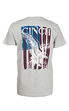 Cinch Men's Heather Grey with Large Logo on Back Short Sleeve T-Shirt