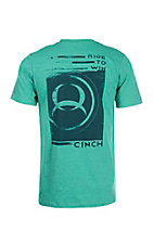 Cinch Men's Green with Navy Logos Short Sleeve T-Shirt