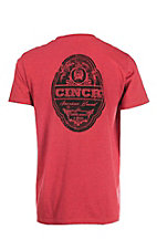Cinch Men's Red with Black Logos Short Sleeve T-Shirt