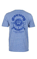 Cinch Men's Blue with Logo Screen Print Short Sleeve T-Shirt