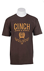 Cinch Men's Brown with Logo Screen Print Short Sleeve T-Shirt