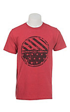 Cinch Men's Red with Denim Logo on Front Short Sleeve T-Shirt