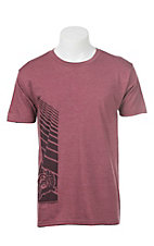 Cinch Men's Burgundy with Logo Short Sleeve T-Shirt
