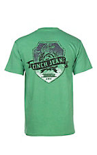 Cinch Men's Green with Black Logo on Left Chest and Back Short Sleeve T-Shirt