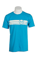Cinch Men's Turquoise with White Logo on Front Short Sleeve T-Shirt