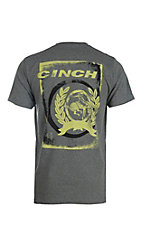 Cinch Men's Heather Grey with Lime Green Logo on Back Short Sleeve T-Shirt
