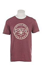 Cinch Men's Heathered Burgundy Short Sleeve T-Shirt