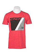 Cinch Men's Red with Black Logo on Front Short Sleeve T-Shirt