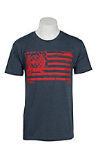 Cinch Men's Heather Navy Flag Short Sleeve T-Shirt