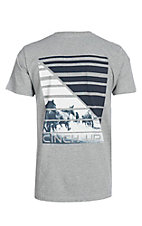 Cinch Men's Heather Grey Screen Print Branded S/S T-Shirt