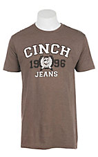 Cinch Men's Brown with White and Black Logo Screen Print Short Sleeve T-Shirt