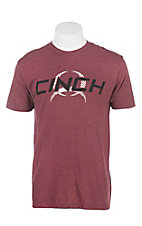 Cinch Men's Burgundy with White and Black Logo Screen Print Short Sleeve T-Shirt
