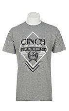 Cinch Men's Light Charcoal with Logo Screen Print Short Sleeve T-Shirt