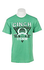 Cinch Men's Green with Logo Screen Print Short Sleeve T-Shirt