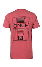 Cinch Men's Red with Logo Screen Print Short Sleeve T-Shirt