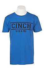 Cinch Men's Blue USA Logo Short Sleeve Tee