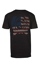 Cinch Men's Black American Flag Logo Crest Short Sleeve T-Shirt