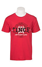 Cinch Men's Red American Classic Logo Short Sleeve Tee