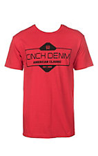 Cinch Men's Red American Classic Crew Neck Logo Short Sleeve Tee