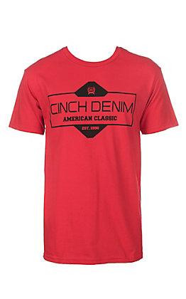 Cinch Men's Red American Classic Crew Neck Logo Short Sleeve Tee