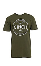 Cinch Men's Olive Heathered Front Logo T-Shirt