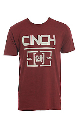 Cinch Men's Heathered Red Logo Short Sleeve T-Shirt