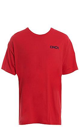Cinch Men's Red Graphic Short Sleeve T-Shirt