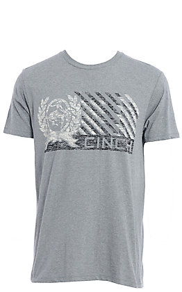 Cinch Men's Heather Grey Logo Flag Short Sleeve Tee