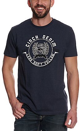 Cinch Men's Heather Navy Lead Don't Follow Seal Logo Short Sleeve Tee