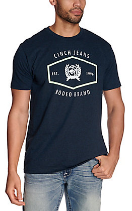 Cinch Men's Heather Navy Lime Green Rodeo Brand Logo Short Sleeve Tee