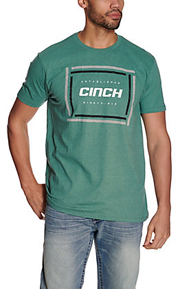 Cinch Men's Heather Green with Square Logo Short Sleeve Tee