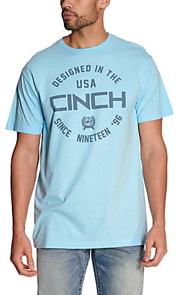 Cinch Men's Heather Blue Designed in the USA Short Sleeve T-Shirt