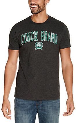 Cinch Men's Heather Black with Green Logo Short Sleeve T-Shirt