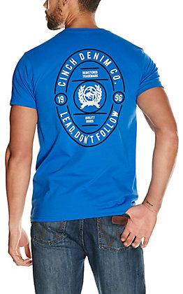 Cinch Men's Royal Blue Lead Don't Follow Graphic Short Sleeve T-Shirt