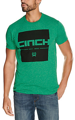 Cinch Men's Heather Green with Black Square Logo Graphic Short Sleeve T-Shirt