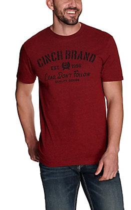 Cinch Men's Heather Red Lead Don't Follow Short Sleeve T-Shirt
