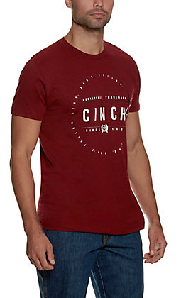 Cinch Men's Heathered Burgundy Logo Short Sleeve T-Shirt