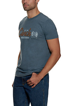 Cinch Men's Heather Blue with Rust and White Logo Graphic Short Sleeved T-Shirt