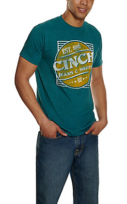 Cinch Men's Heather Teal with Cinch Logo Short Sleeve T-Shirt