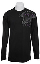 Cinch Men's Black with Purple & Grey Logo Long Sleeve Tee