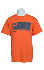 Cinch Men's Orange with Blue Logo Short Sleeve Tee  MTT1694020
