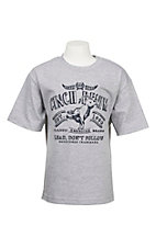 Cinch Boy's Heather Grey with Navy Screen Print Short Sleeve T-Shirt