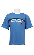 Cinch Boy's Blue with Screen Print Logo on Front Short Sleeve T-Shirt